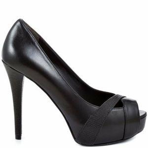 Guess Black Peep Toe Heels/Pumps
